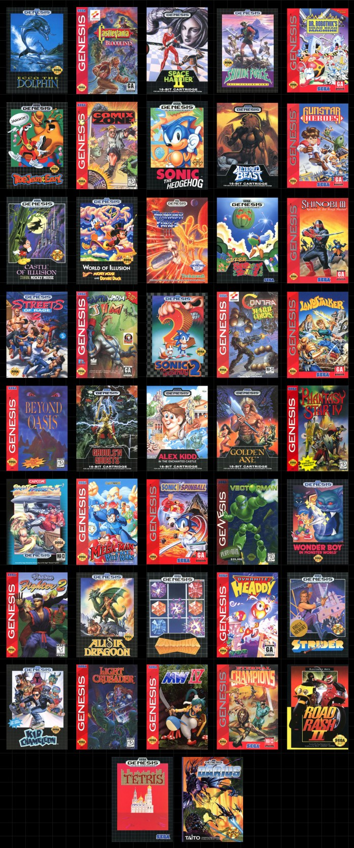 The full list of games for the Sega Genesis Mini