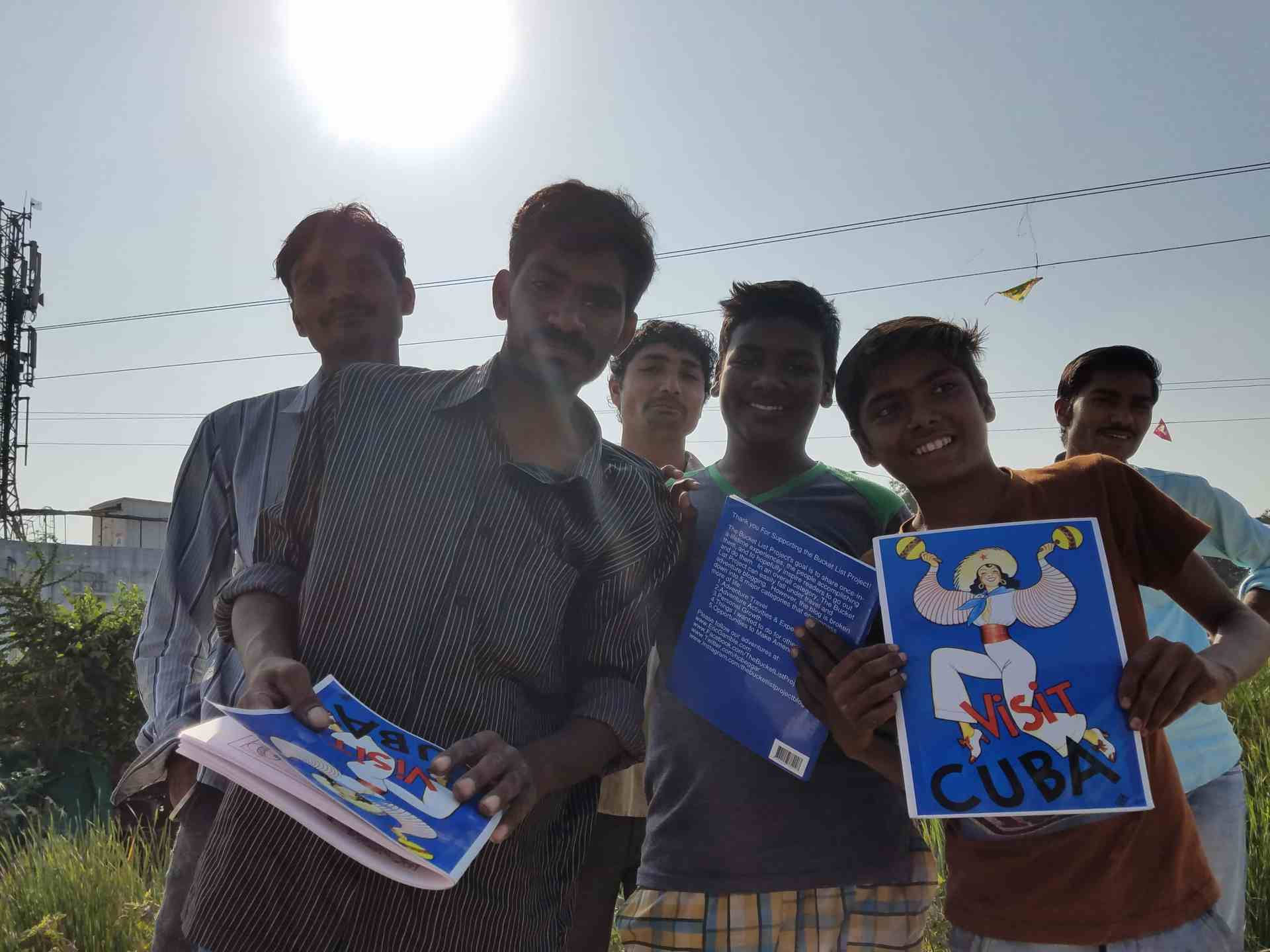 Picture of the Free Copies of the Visit Cuba Coloring Book Given out during the Rickshaw Run in India