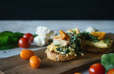 3 Cheese Spinach Omelette with Panko Crusted Sourdough French Toast