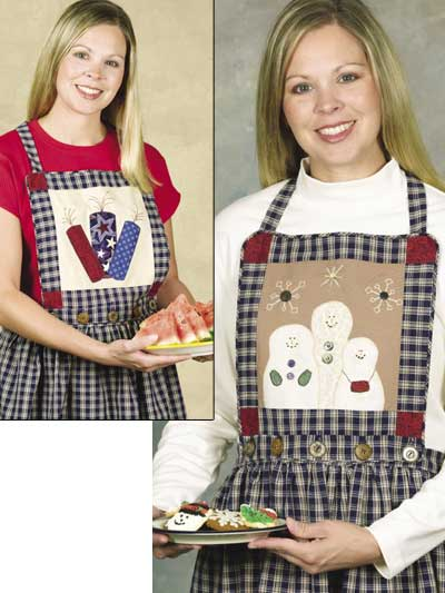 Create fun holiday-appliqued aprons with this free sewing pattern. The ...