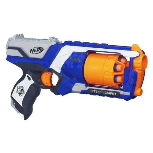 Nerf N-Strike Elite Strongarm Blaster  holds 6 Elite darts and fires darts up to 90 feet. This is a very popular Nerf gun that has really great reviews. It would make an awesome bday gift.