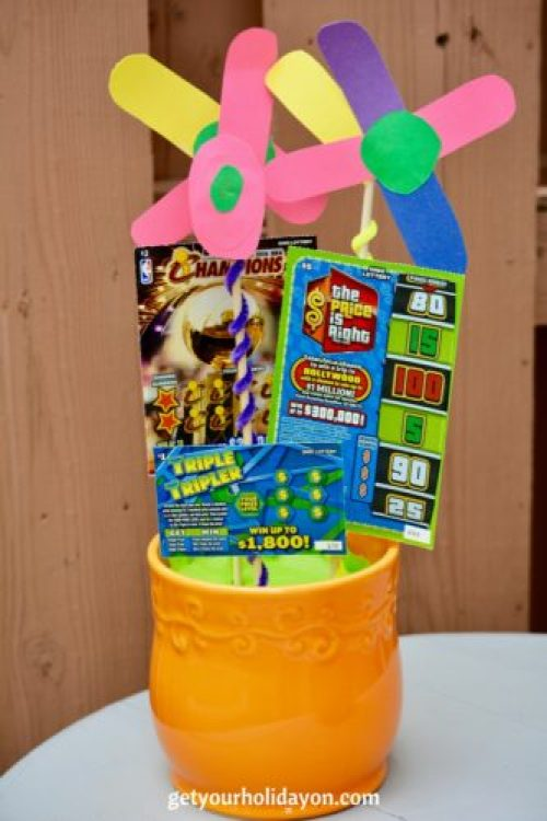 The finished product of the Lottery Ticket Basket.