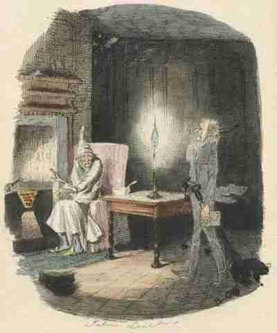 Ebenezer Scrooge meets Jacob Marley's ghost -- by John Leech, from the 1843 edition of Charles Dickens' A Christmas Carol.  Greece used this picture to accuse European officials of being Scrooges. (Gutenberg)