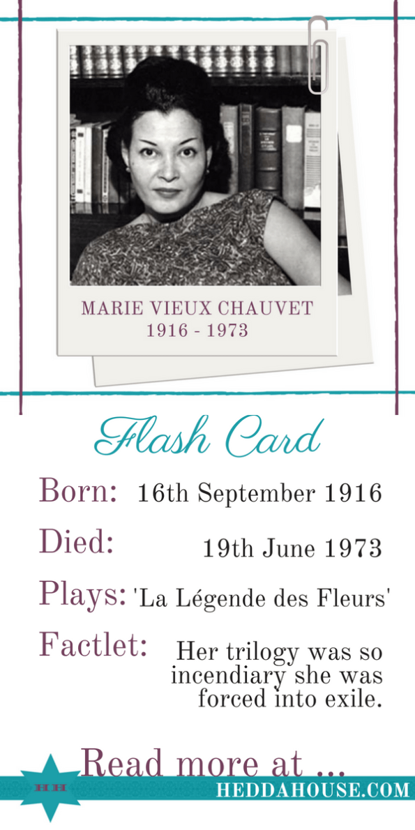 Biography of Haitian female playwright Marie Vieux Chauvet by Hedda House