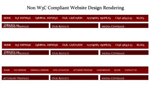 Non W3C Compliant Website Design Rendering Errors