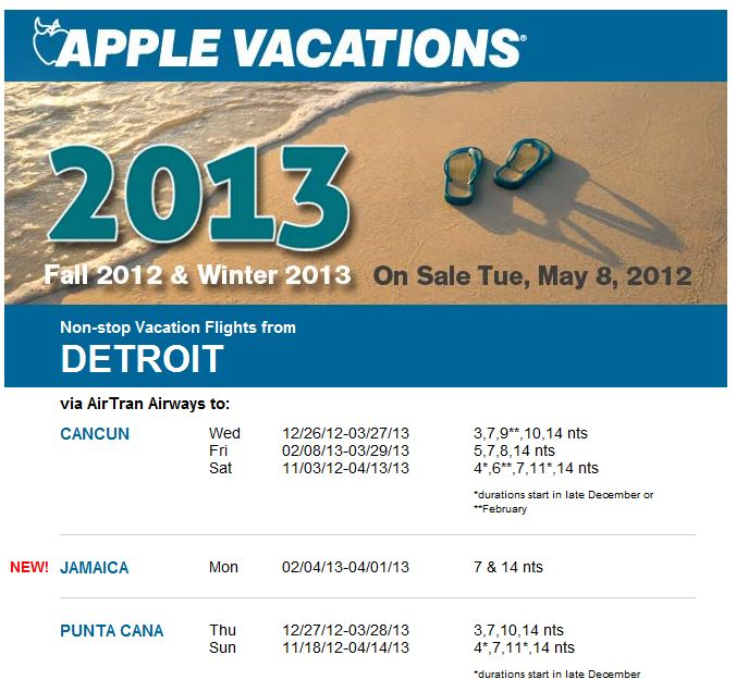 Apple Vacations new Jamaica Flights from Detroit