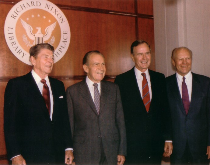 Left to right: Presidents Reagan, Nixon, G.W. Bush, and Ford
