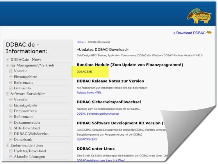 DDBAC Runtime Modul fuer Lexware Online Banking