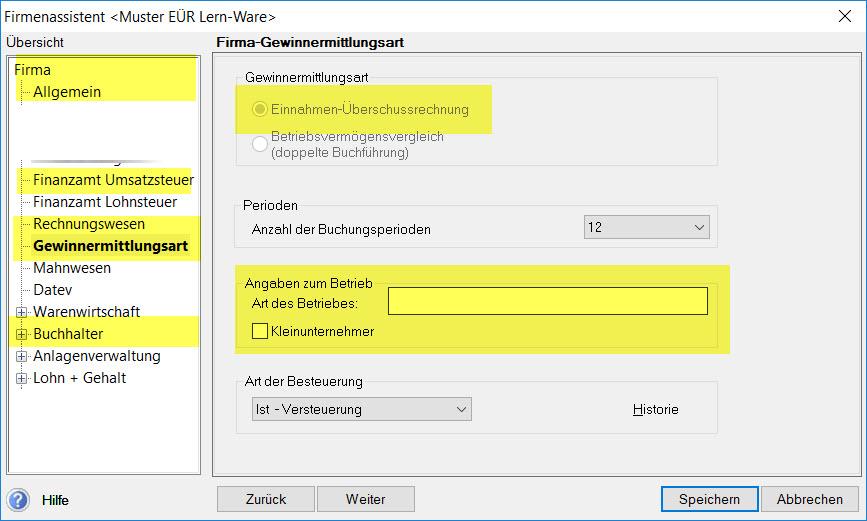 Lexware Firmenstammdateneingabe für Einnahmen-Überschussermittler (gelb gefärbte Bereiche)
