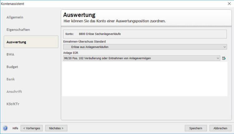 Lexware SKR03 Konto 8920 bei Veräusserung/Entnahme von Betriebsvermögen