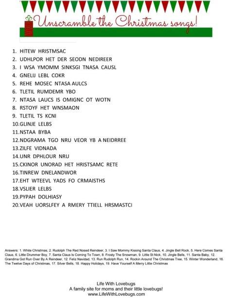 Christmas Activity Printable - Unscramble The Christmas Songs