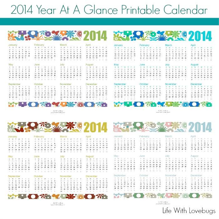 2014 year at a glance printable calendar life with lovebugs