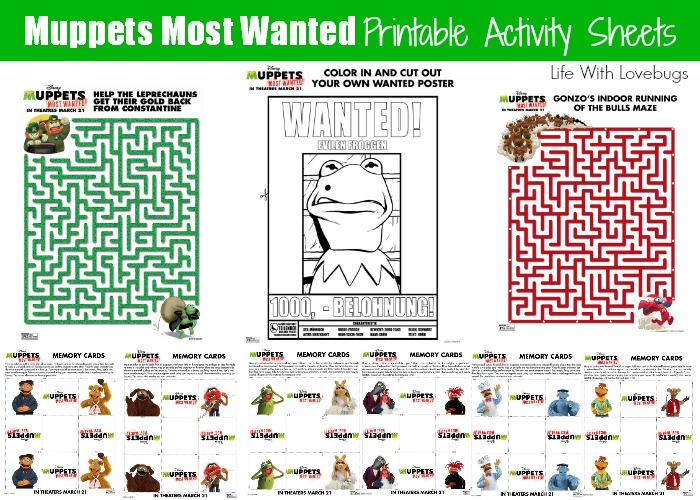 More Muppets Most Wanted Activity Sheets! - Life With Lovebugs