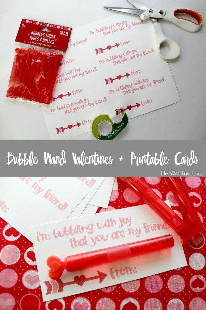 Bubble Wand Valentines + Printable Cards