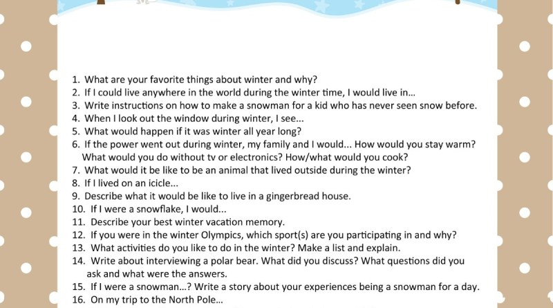 20 Winter Writing Prompts for Kids
