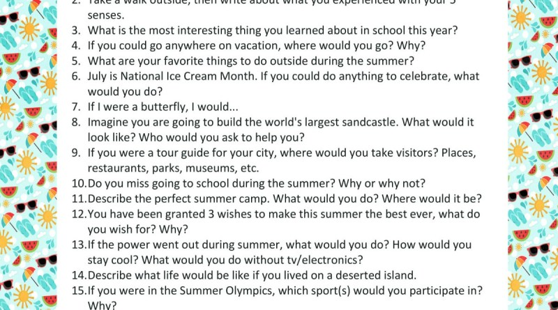 Printable List of 20 Summer Writing Prompts for Kids