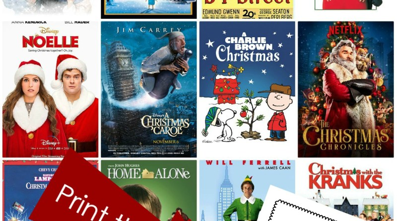 Printable List of 25 Christmas Movies
