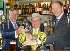 Official launch of Winning Co-ALE-ition with Howling's two local MPs from left to right -- Sir Gerald Howarth, Howling and James Arbuthnot