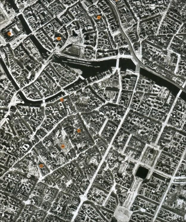 Luisenstadt Luftbild nach Bombenangriffen 1945