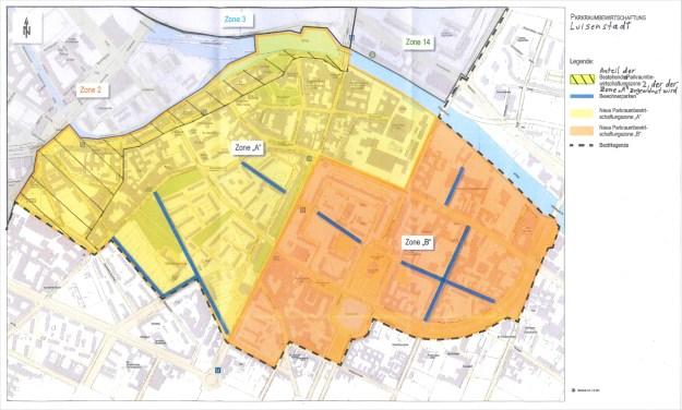 Plan der Parkraumbewirtschaftung