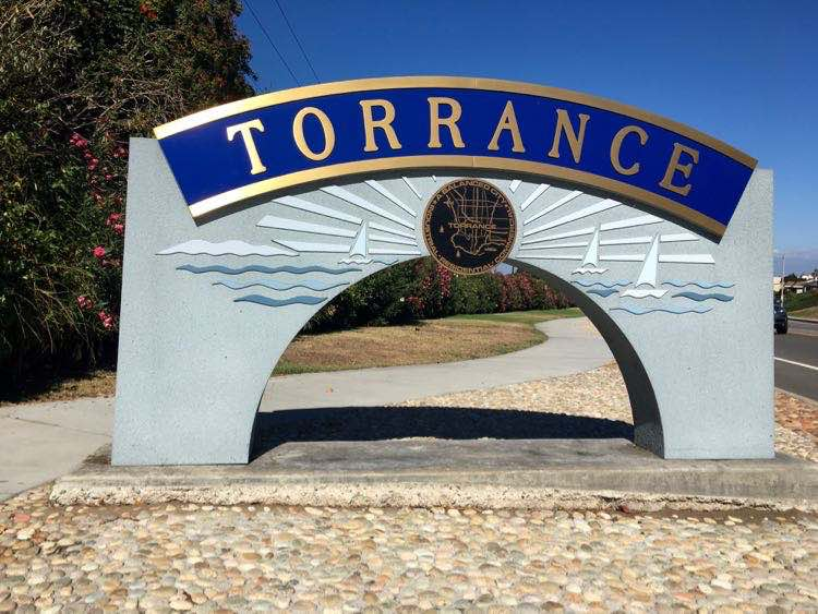 welcome sign in torrance California. Article ad photo by Charles McCool for McCool Travel