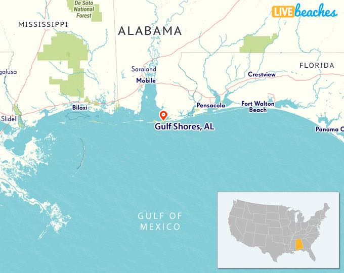 Gulf Shores Alabama map from LiveBeaches.com