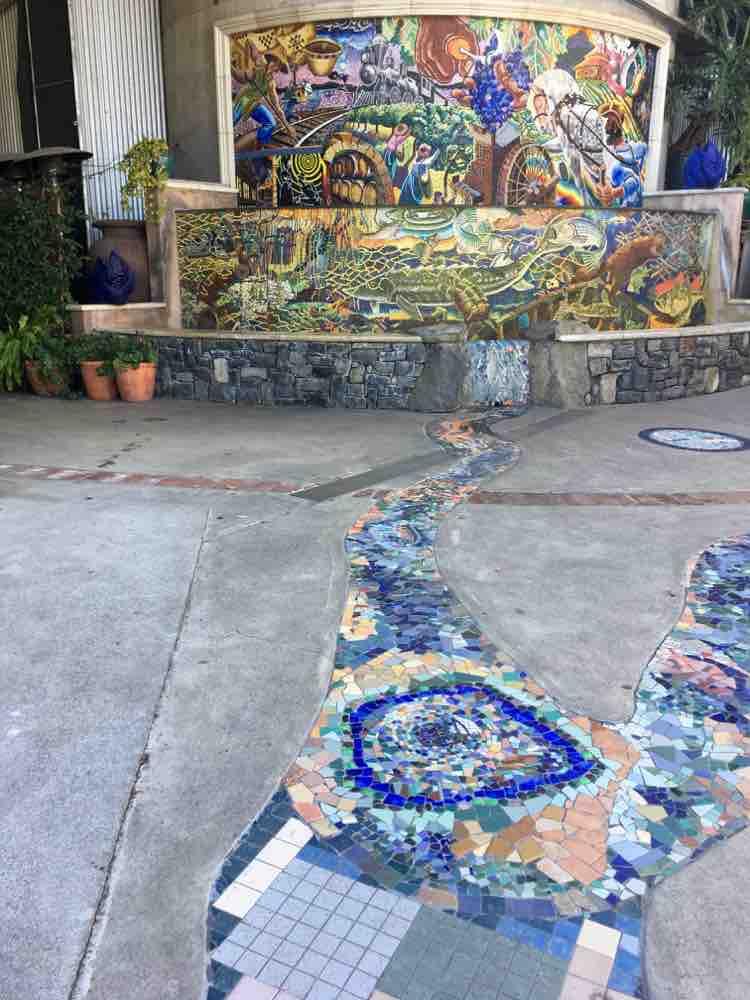cool things to see in Napa California: glass mosaic fountain