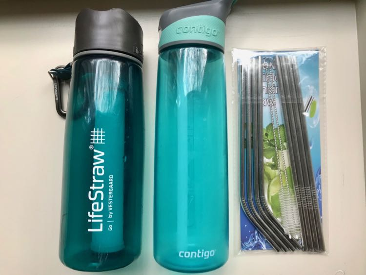 Reusable water bottles and metal straws