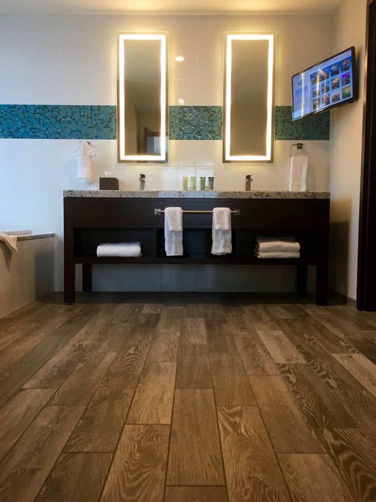 gorgeous wooden floor in bathroom, Margaritaville Tulsa at River Spirit Casino Resort