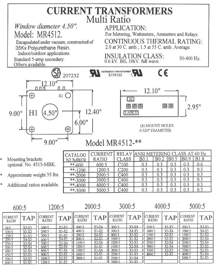ABB SCB1MR Multi Ratio Current Transformer Alternate CT