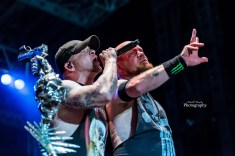 Ivan Moody of Five Finger Death Punch with Phil LaBonte of All That Remains at Moonstock 2017. Photo by Keith Brake Photography.