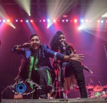 Pedro Erazo and Ashley Tobias of Gogol Bordello performing at The Pageant in Saint Louis Wednesday. Photo by Sean Derrick/Thyrd Eye Photography.