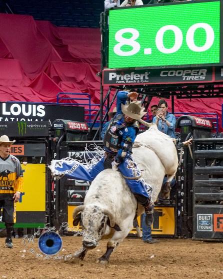 Cody Nance competing in the PBR Saint Louis Invitational. Photo by Sean Derrick/Thyrd Eye Photography.