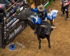 Cody Nance competing in the PBR Saint Louis Invitational. Photo by Sean Derrick/Thyrd Eye Photography.