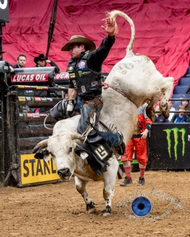 Guilherme Marche competing in the PBR Saint Louis Invitational. Photo by Sean Derrick/Thyrd Eye Photography.