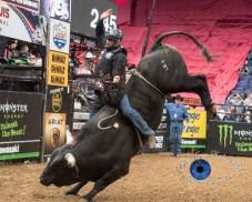 Ramon De Lima competing in the PBR Saint Louis Invitational. Photo by Sean Derrick/Thyrd Eye Photography.