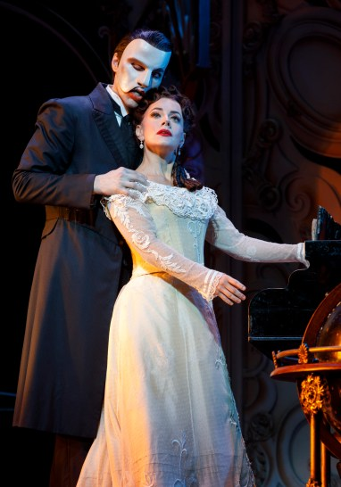 "Bronson Norris Murphy (""The Phantom"") and Meghan Picerno (""Christine Daaé"") star in Love Never Dies. Photo: Joan Marcus."