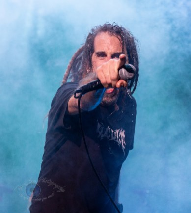 Randy Blythe of Lamb of God performing at Hollywood Casino Amphitheatre in St. Louis. Photo by Sean Derrick/Thyrd Eye Photography.