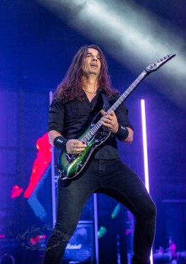 Kiko Loureiro of Megadeth performing at Hollywood Casino Amphitheatre in St. Louis. Photo by Sean Derrick/Thyrd Eye Photography.