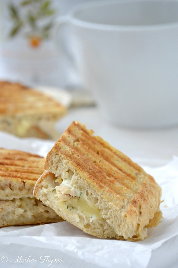 Creamy White Chicken Grilled Cheese | www.motherthyme.com