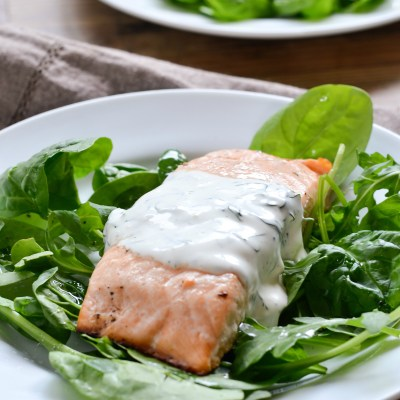 30 Minute Meal – Baked Lemon Pepper Salmon with Creamy Dill Sauce