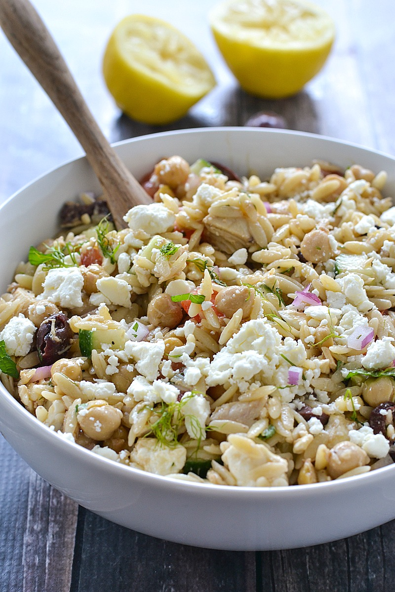 Mediterranean Orzo Salad with Tuna and Chickpeas | www.motherthyme.com
