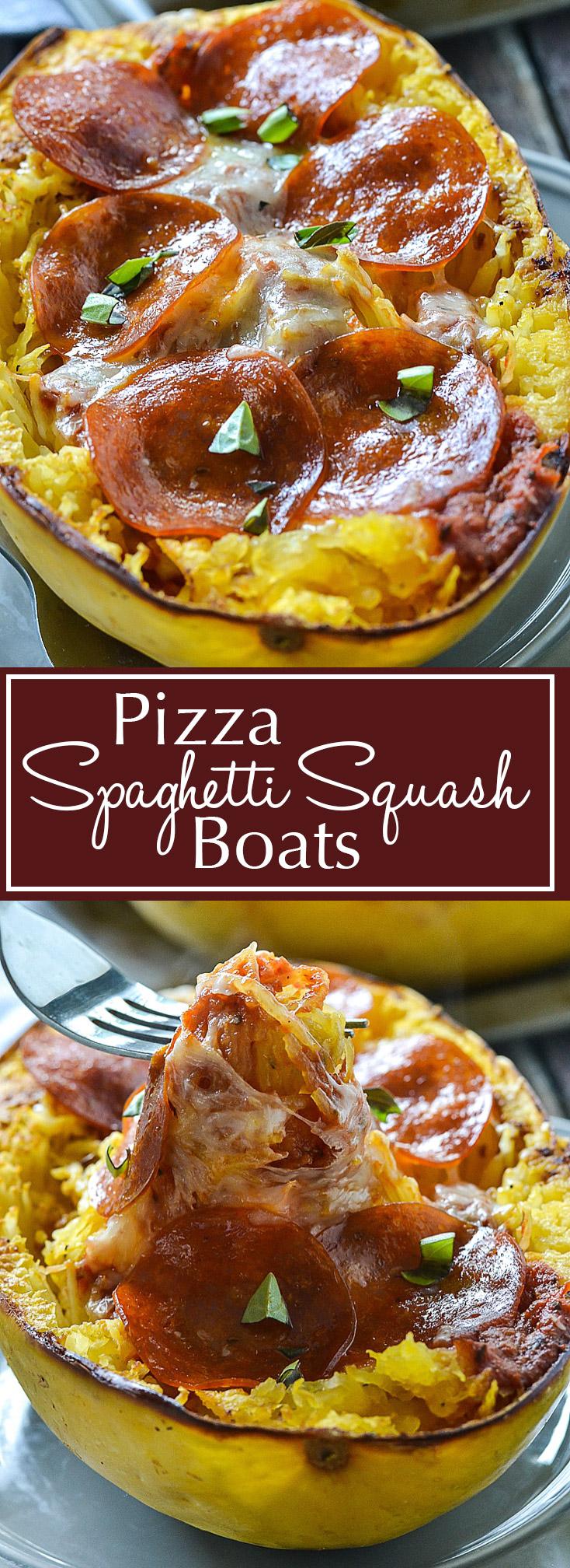 Pizza Spaghetti Squash Boats   www.motherthyme.com