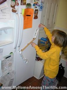 Marble run on the refrigerator