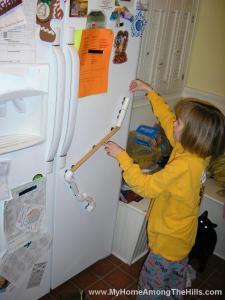 Marble run on the refrigerator