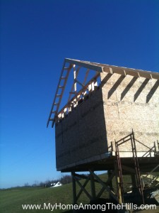 Getting ready to frame in the gable on my small cabin.  Check out the overhang on the roof