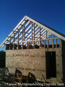 Beginning to frame in the gable ends