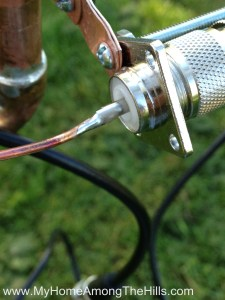soldering the center wire to the SO-239 connector on the j-pole antenna