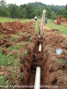 Installing drain line to the septic tank