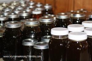 My very dark honey harvest!
